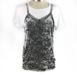 Love By Design Crushed Velvet Top, M, L, NWT